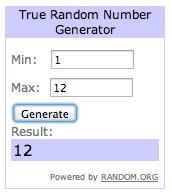 winnaar via Random.org